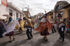 Street dancers performing in Pujili Ecuador Stock Images