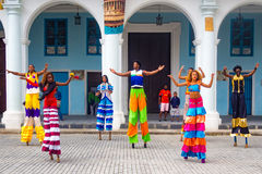 Street dancers on stilts in Old Havana Royalty Free Stock Photography