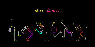 Street Dances. Neon colors on a black background Street Dances vector illustration. Silhouettes of dancing people stock illustration