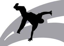Street Dancing 7. Illustration silhouette of dancer on street background Stock Photos