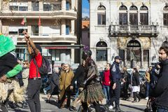 Street dancing with Cabo Verde flag in Lisbon. Royalty Free Stock Photography