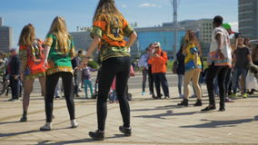 Street dancing on festival - slowmo 180 fps stock video