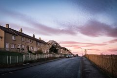 On the street at dawn. On the streets of Glasgow at dawn, Glasgow, Scotland Royalty Free Stock Images