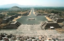 Street of the dead. View of the Avenue of the Dead and the Pyramid of the Sun, from the Pyramid of the Moon Stock Image