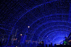 Street decorated by blue lighting Royalty Free Stock Photos