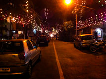 Street decorated for Christmas in mumbai Royalty Free Stock Photo