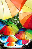 Street decorated with colored umbrellas Royalty Free Stock Image