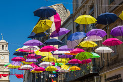 Street decorated with colored umbrellas. Arles, Provence. France Stock Photography