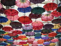 Street decorated with colored umbrellas Stock Images