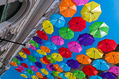 Street decorated with colored umbrellas 2 Stock Images