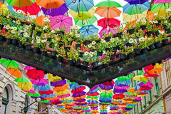 Street decorated with colored umbrellas 1 Stock Images