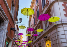 Street decorated with colored umbrellas - Tivoli Italy Stock Photography