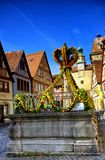 Street decorated for easter in rothenburg ob der tauber Royalty Free Stock Photography