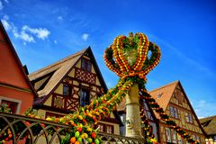 Street decorated for easter in rothenburg ob der tauber Royalty Free Stock Image