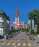 Street decorated with flags Stock Photos