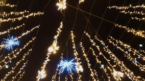 Street is decorated with illumination. For Christmas stock video footage