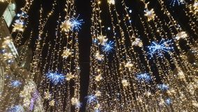 Street is decorated with illumination. For Christmas stock video