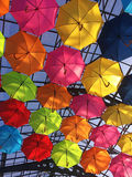 Street decorated with multicolored umbrellas Royalty Free Stock Images