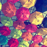 Street decorated with multicolored umbrellas Royalty Free Stock Image