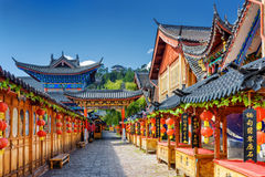 Street decorated with traditional red lanterns, Lijiang, China Royalty Free Stock Image