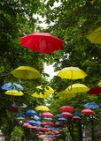 Street decorated with umbrellas Royalty Free Stock Photos