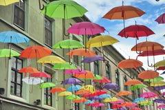 Street decorated with umbrellas Stock Image