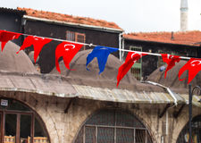 Street decorated with vibrant flags of EU and Turkey. Stock Images