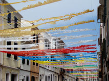 Street decoration. For local festivities in Mao Menorca Royalty Free Stock Photos