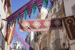 Street decoration with arabic fabrics at Badajoz Almossasa Festi. Val, Spain Stock Photography