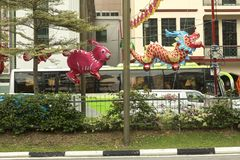 Street decoration in Chinatown in Singapore Stock Photography