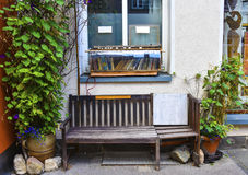Street decoration in Erfurt, Germany. A bench and a book shelf on the street in Erfurt, Germany Stock Photos