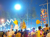 Street decoration in LOY KRATHONG festival in THAILAND. November 3, 2017 colorful paper, textiles and bamboo decoration flags made with THAI traditional handmade Royalty Free Stock Photo