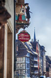 Street decoration of typical french signage, Strasbourg, France Stock Images