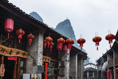 Street decoration in Xing Ping town in Yangshuo. XINGPING, CHINA - MARCH 30, 2017: street decoration in Xing Ping town in Yangshuo county in spring. The town was Royalty Free Stock Photography