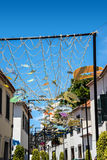 Street Decorations in Camara de Lobos a fishing village near the city of Funchal and has some of the highest cliffs in the world. The location of the modern town stock image
