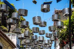 Street Decorations in Camara de Lobos a fishing village near the city of Funchal and has some of the highest cliffs in the world. The location of the modern town royalty free stock image