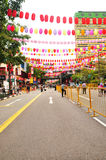 Street decorations for Mid Autumn Festival in Hongkong Stock Photography
