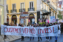 Street demonstration for women's right in Lisbon Royalty Free Stock Photography