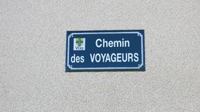 Street description, village Vers, France Royalty Free Stock Photo