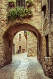 Pals. Street detail of Pals, small medieval village of Costa Brava Royalty Free Stock Images