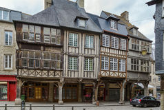 Street in Dinan, France. Street with half-timbered houses in Dinan city center,  Brittany, France Royalty Free Stock Images