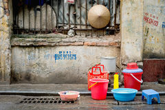 Street Dishwashing Station, Hanoi, Vietnam Royalty Free Stock Photos