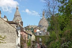 A street in the district of Montmartre (Paris) Royalty Free Stock Photo