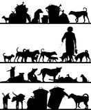 Street dog foregrounds. Set of editable vector foreground silhouettes of street dogs in Bangkok with all figures as separate objects Royalty Free Stock Images