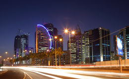 Street in Doha downtown at night Royalty Free Stock Photography