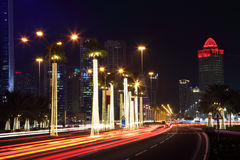 Street in Doha at night Stock Photos