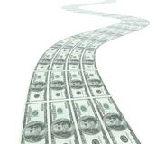 Street with dollar bank notes Stock Images
