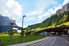 Street in Dolomiti mountains, Belluno Royalty Free Stock Photos