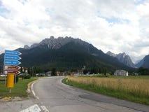 Street for Dolomiti Mountains Stock Image