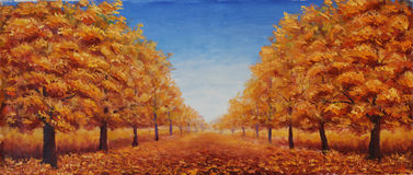 The street is dotted with yellow leaves. Trees in autumn on a background of blue sky with clouds. Original oil painting the street is dotted with yellow leaves Stock Photo